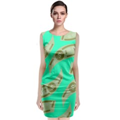 Money Dollar $ Sign Green Classic Sleeveless Midi Dress