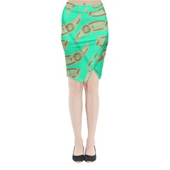 Money Dollar $ Sign Green Midi Wrap Pencil Skirt by Alisyart