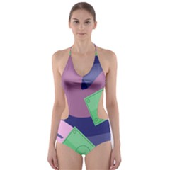Money Dollar Green Purple Pink Cut Out One Piece Swimsuit