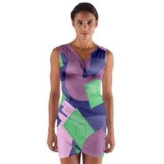 Money Dollar Green Purple Pink Wrap Front Bodycon Dress