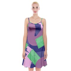 Money Dollar Green Purple Pink Spaghetti Strap Velvet Dress