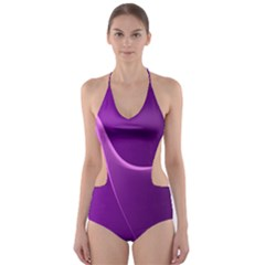 Purple Line Cut Out One Piece Swimsuit
