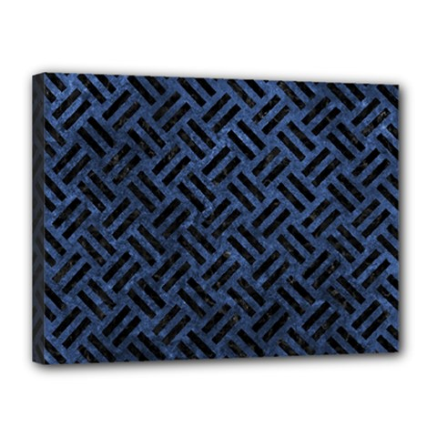 Woven2 Black Marble & Blue Stone (r) Canvas 16  X 12  (stretched) by trendistuff
