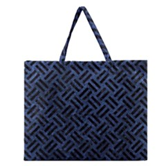 Woven2 Black Marble & Blue Stone (r) Zipper Large Tote Bag by trendistuff