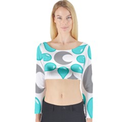 Moon Water Star Grey Blue Long Sleeve Crop Top