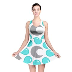 Moon Water Star Grey Blue Reversible Skater Dress