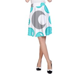 Moon Water Star Grey Blue A Line Skirt by Alisyart