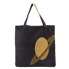 Saturn Ring Planet Space Orange Grocery Tote Bag by Alisyart