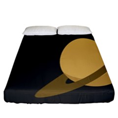 Saturn Ring Planet Space Orange Fitted Sheet (king Size) by Alisyart