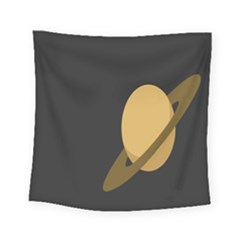 Saturn Ring Planet Space Orange Square Tapestry (small)