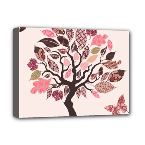 Tree Butterfly Insect Leaf Pink Deluxe Canvas 16  X 12   by Alisyart