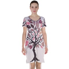 Tree Butterfly Insect Leaf Pink Short Sleeve Nightdress by Alisyart