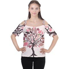 Tree Butterfly Insect Leaf Pink Women s Cutout Shoulder Tee by Alisyart
