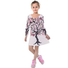Tree Butterfly Insect Leaf Pink Kids  Long Sleeve Velvet Dress