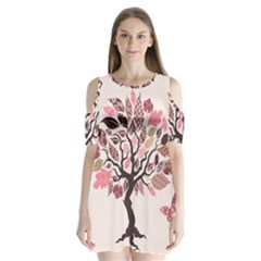 Tree Butterfly Insect Leaf Pink Shoulder Cutout Velvet  One Piece