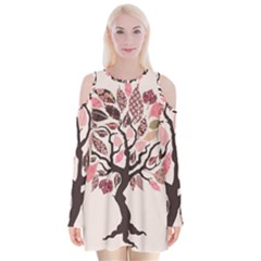 Tree Butterfly Insect Leaf Pink Velvet Long Sleeve Shoulder Cutout Dress by Alisyart