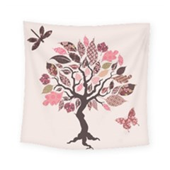 Tree Butterfly Insect Leaf Pink Square Tapestry (small) by Alisyart