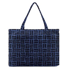 Woven1 Black Marble & Blue Stone (r) Medium Zipper Tote Bag by trendistuff