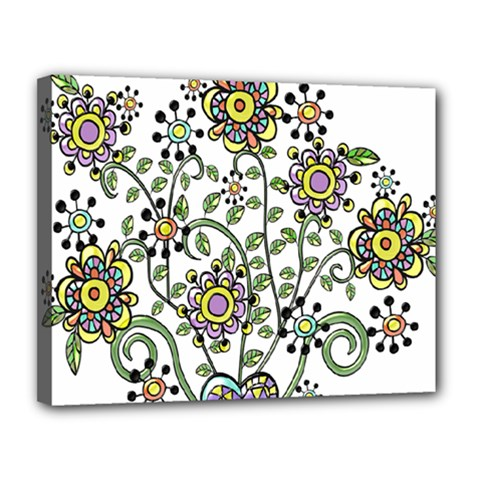 Frame Flower Floral Sun Purple Yellow Green Canvas 14  X 11
