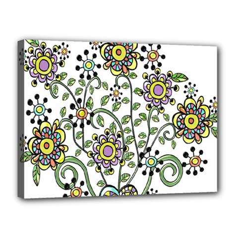Frame Flower Floral Sun Purple Yellow Green Canvas 16  X 12  by Alisyart
