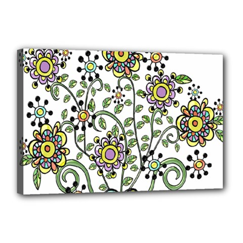 Frame Flower Floral Sun Purple Yellow Green Canvas 18  X 12  by Alisyart
