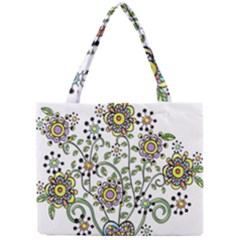 Frame Flower Floral Sun Purple Yellow Green Mini Tote Bag by Alisyart