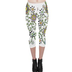 Frame Flower Floral Sun Purple Yellow Green Capri Leggings  by Alisyart