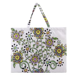 Frame Flower Floral Sun Purple Yellow Green Zipper Large Tote Bag