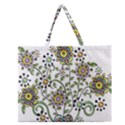 Frame Flower Floral Sun Purple Yellow Green Zipper Large Tote Bag View1