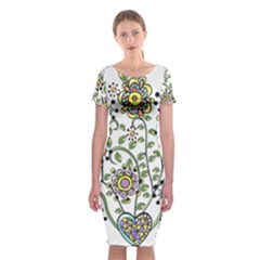 Frame Flower Floral Sun Purple Yellow Green Classic Short Sleeve Midi Dress by Alisyart