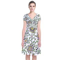 Frame Flower Floral Sun Purple Yellow Green Short Sleeve Front Wrap Dress