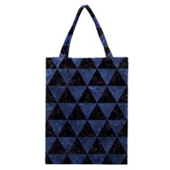 Triangle3 Black Marble & Blue Stone Classic Tote Bag by trendistuff
