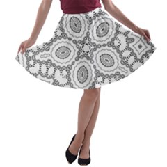 Scope Random Black White A Line Skater Skirt