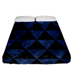 Triangle3 Black Marble & Blue Stone Fitted Sheet (queen Size) by trendistuff