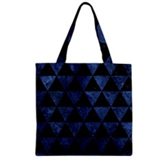 Triangle3 Black Marble & Blue Stone Zipper Grocery Tote Bag by trendistuff