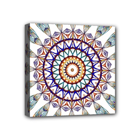 Circle Star Rainbow Color Blue Gold Prismatic Mandala Line Art Mini Canvas 4  X 4