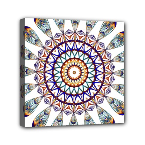 Circle Star Rainbow Color Blue Gold Prismatic Mandala Line Art Mini Canvas 6  X 6