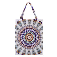 Circle Star Rainbow Color Blue Gold Prismatic Mandala Line Art Classic Tote Bag by Alisyart