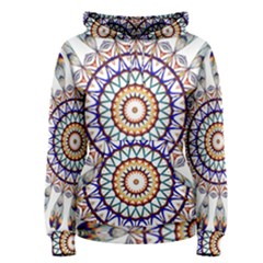 Circle Star Rainbow Color Blue Gold Prismatic Mandala Line Art Women s Pullover Hoodie