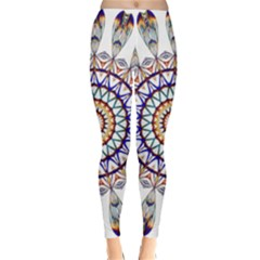 Circle Star Rainbow Color Blue Gold Prismatic Mandala Line Art Classic Winter Leggings