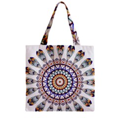 Circle Star Rainbow Color Blue Gold Prismatic Mandala Line Art Zipper Grocery Tote Bag by Alisyart