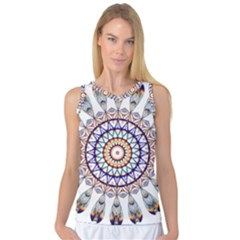Circle Star Rainbow Color Blue Gold Prismatic Mandala Line Art Women s Basketball Tank Top by Alisyart