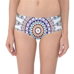 Circle Star Rainbow Color Blue Gold Prismatic Mandala Line Art Mid Waist Bikini Bottoms