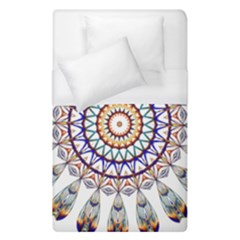 Circle Star Rainbow Color Blue Gold Prismatic Mandala Line Art Duvet Cover (single Size) by Alisyart