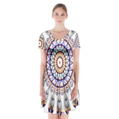 Circle Star Rainbow Color Blue Gold Prismatic Mandala Line Art Short Sleeve V Neck Flare Dress