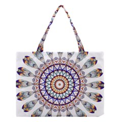 Circle Star Rainbow Color Blue Gold Prismatic Mandala Line Art Medium Tote Bag by Alisyart