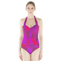 Voronoi Pink Purple Halter Swimsuit by Alisyart