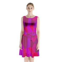 Voronoi Pink Purple Sleeveless Chiffon Waist Tie Dress