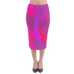 Voronoi Pink Purple Velvet Midi Pencil Skirt