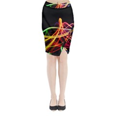 Vortex Rainbow Twisting Light Blurs Green Orange Green Pink Purple Midi Wrap Pencil Skirt by Alisyart